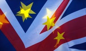 A Union Jack flag with EU flag stars