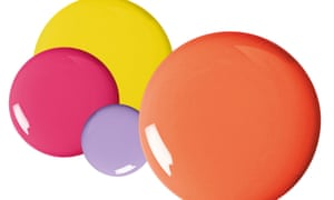 Round neon circles in orange, lilac, pink and yellow