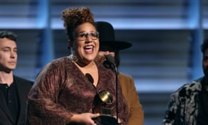 """Brittany Howard of The Alabama Shakes accepts the award for best rock performance for """"Don't Wanna Fight"""""""