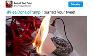 Burned Your Tweet robot, which prints out and burns Donald Trump's tweets.