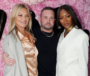 Menswear designer Kim Jones with Kate Moss (on left) and Naomi Campbell at Paris fashion week, June 2018