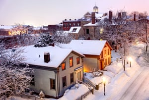 A snowy street in downtown New Bedford.