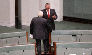 Treasurer Joe Hockey talks to PUP leader Clive Palmer.