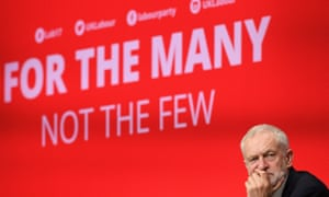 Jeremy Corbyn on the Labour conference platform.