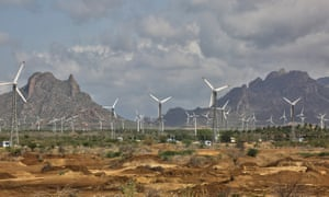 Wind turbines generate electricity in Tamil Nadu, India