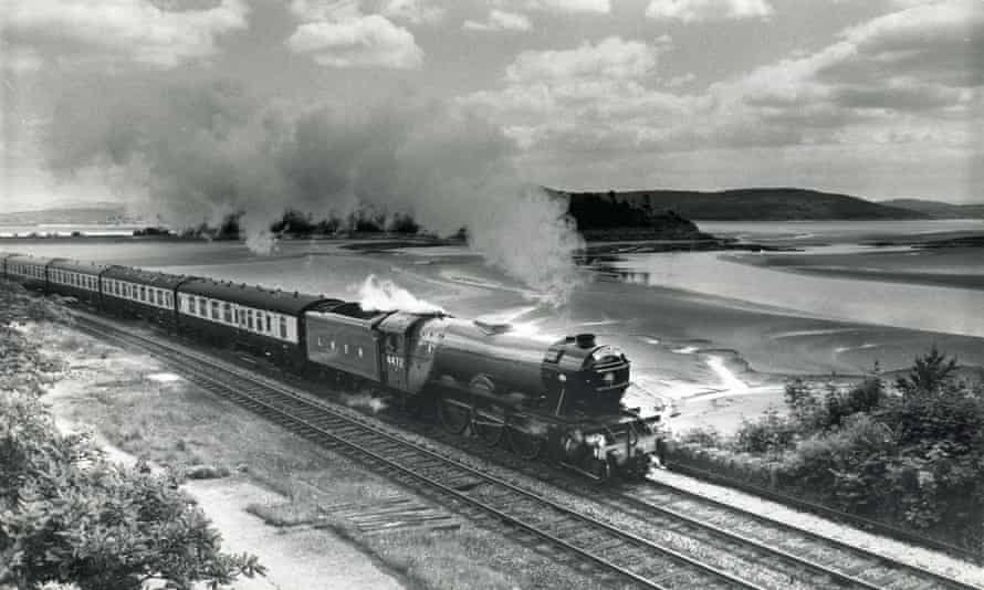 Flying Scotsman at Grange-over-Sands, between Carnforth in Lancashire and Ravenglass in Cumbria, during the 1970s