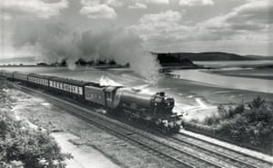 The Flying Scotsman at Grange-over-Sands, between Carnforth in Lancashire and Ravenglass in Cumbria, during the 1970s