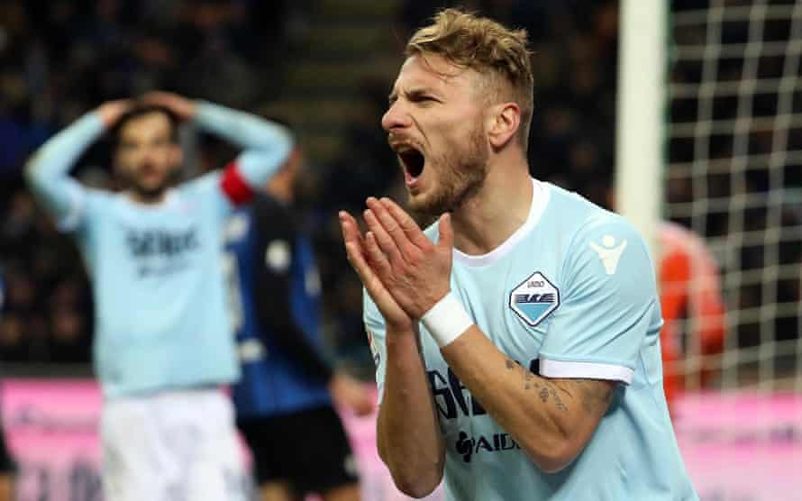 Lazio's Ciro Immobile during the Serie A match with Inter.