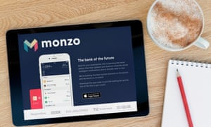 Monzo displayed on an iPad on a desk