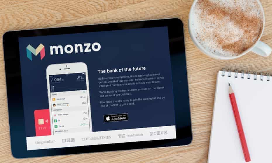 Monzo website on iPad