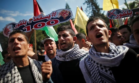 Palestinians take part in a protest against the Balfour declaration in Gaza.