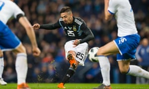 Manuel Lanzini in action for Argentina in their 2-0 victory over Italy at the Etihad Stadium, when the West Ham player scored his first goal for his country