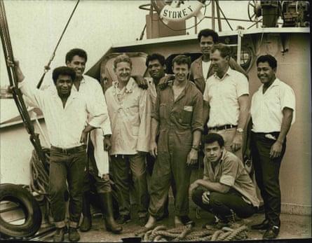Peter Warner (third left) with his crew: David, John, Luke, Bill, Stephen, Jim, Kolo and Mano in 1968.
