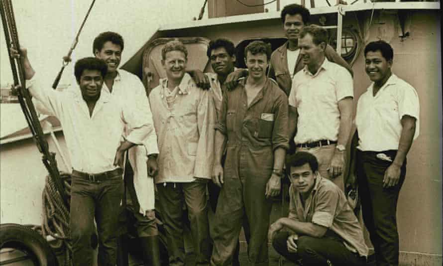 Peter Warner (third left) with his crew: David, John, Luke, Bill, Stephen, Jim, Kolo and Mano in 1968. (Photo by John Raymond Elliott/Fairfax Media via Getty Images).