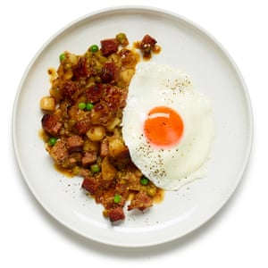 Serve the hash topped with a fried egg, and sprinkle over chopped herbs or chilli or hot sauce.