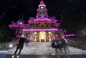 Sydney, Australia. The town hall has been illuminated in pink in memory of the victims