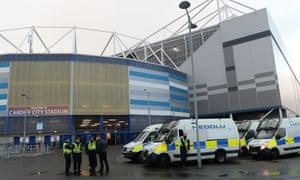 Police outside Cardiff stadium