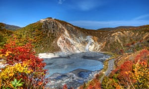 Lost World landscape … Oyunuma Lake, a thermal pool in Noborlbetsu, Hokkaido.