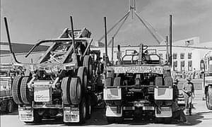 Logging trucks blockaded Parliament House in January 1995