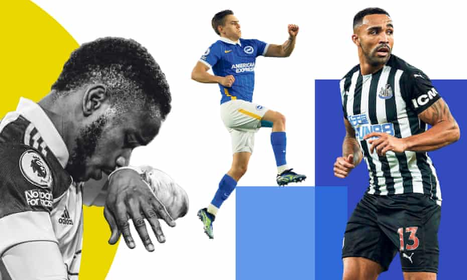 Much rests on the shoulders of (from left) Ademola Lookman of Fulham, Brighton's Leandro Trossard and Newcastle United striker Callum Wilson.