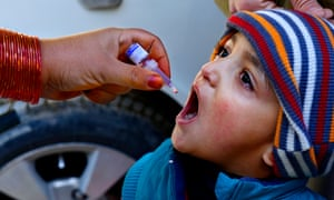 Adult administering polio drops to child