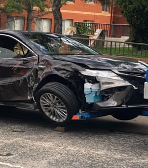 Labor leader Anthony Albanese;s car was written off in an accident in Sydney on Friday. The 57-year-old remained in hospital on Saturday morning.