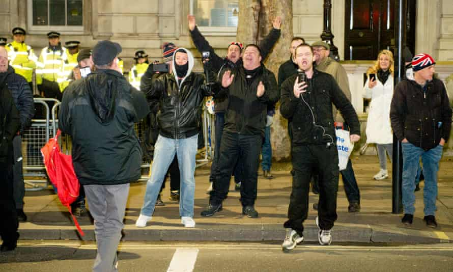 Far-right agitators chant Tommy Robinson songs and declare their love for Boris Johnson in London in December 2019.