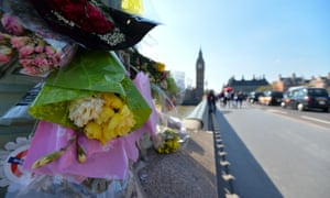 Flowers on Westminster Bridge and in Parliament Square as tributes to victims of the Westminster attack.