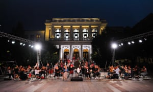 Sarajevo Philharmonic Orchestra members attend a rehearsal outside the National Theatre due to the coronavirus (Covid-19) in Sarajevo, Bosnia and Herzegovina.
