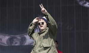 Lewis Capaldi on stage at Glastonbury