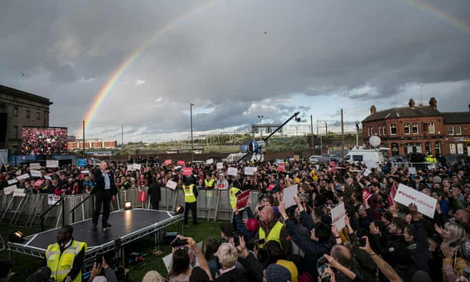 A rainbow appears behind Jeremy Corbyn as he speaks to supporters at a Labour rally in Birmingham.