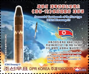 A stamp issued by the State Stamp Bureau to commemorate the test-launch of the new type of intercontinental ballistic rocket Hwasong-15