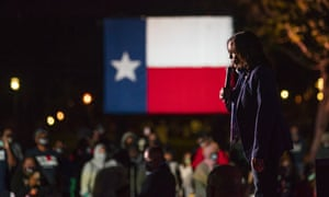 Democratic vice-presidential candidate Kamala Harris speaks to supporters at the University of Houston.