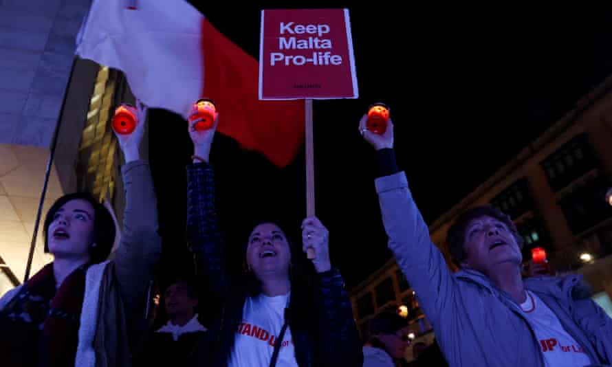 Anti-abortion demonstrators in Malta's capital Valletta, protesting at the legalising of over-the-counter emergency contraception