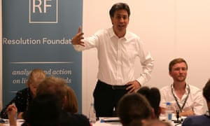 Ed Miliband speaking at a Labour fringe meeting.