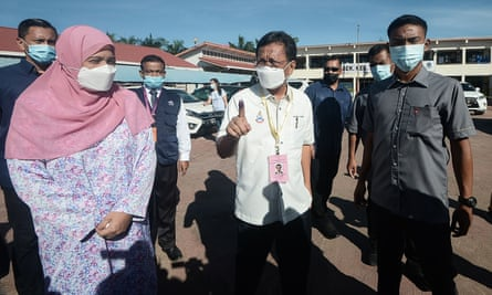 Sabah heritage party president Shafie Apdal after casting his vote at a polling station during state elections in Semporna, a town in Malaysia's Sabah state on Borneo island.