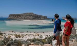 Tourists at Balos beach on Crete.