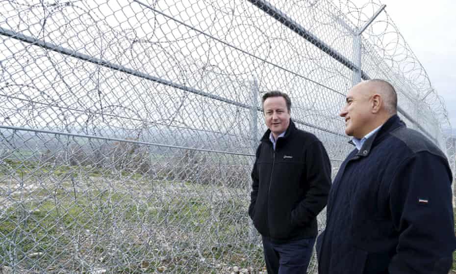 David Cameron inspects Bulgaria's border controls in 2015 with prime minister Boiko Borisov.