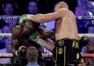 Fury catches Wilder with an uppercut.