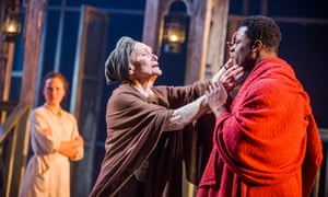 Anna Madeley (Marta Gottering), Siân Phillips (Madame Nielsen) and Danny Sapani (Tshembe Matoseh) in Les Blancs, National Theatre, 2016.