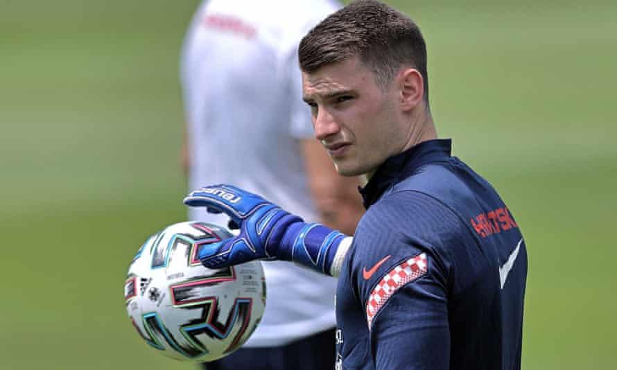 Croatia's goalkeeper Dominik Livakovic trains at the NK Rovinj Stadium; they face England at Wembley on Sunday.