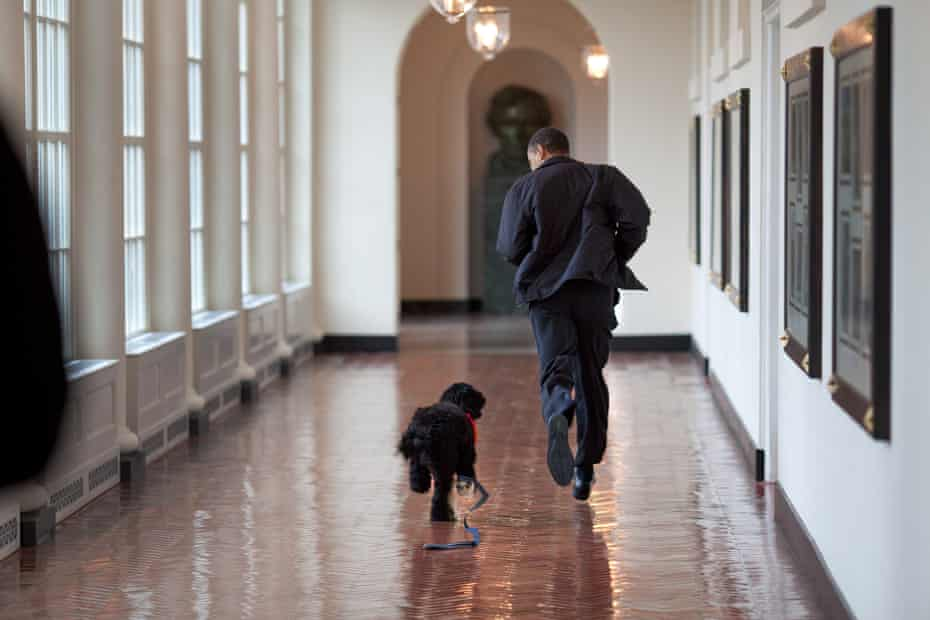 Running down the White House's East Colonnade with Bo, the family dog