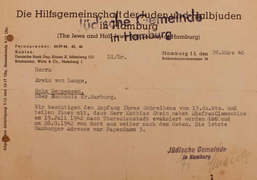 The notice of 'evacuation to Theresienstadt sent to Mathias and Clementine Stein in 1942