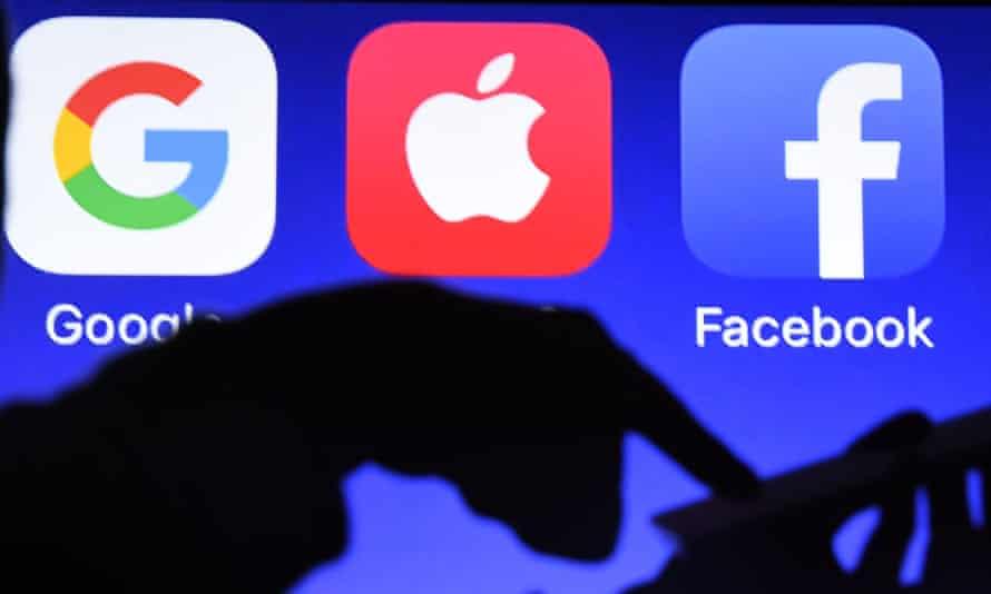 Google, Apple and Facebook logos