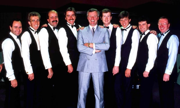 Snooker's Matchroom team with manager Barry Hearn in October 1988. Left to right are: Tony Meo, Terry Griffiths, Willie Thorne, Cliff Thorburn, Barry Hearn, Steve Davis, Neal Foulds, Jimmy White and Dennis Taylor.