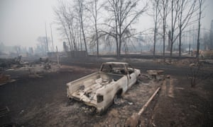 A charred pickup and the remains of trees around the burnt streets of Fort McMurray.
