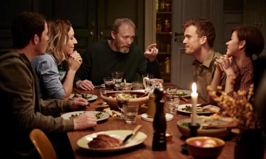 Ride Upon the Storm, starring Lars Mikkelsen (centre), family group at dinner table