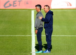 Carlos Carvalhal inspects the pitch before a pre-season friendly against Doncaster Rovers.