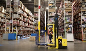 Amazon workers in Romeoville, Illinois. Even permanent employees are experiencing drastic cuts in hours, making it harder for many low-paid workers to make ends meet.