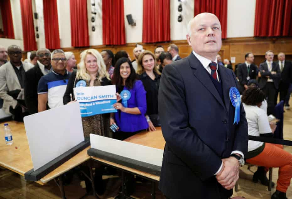 Conservative candidate for Chingford and Woodford Green Iain Duncan Smith with supporters after winning in Waltham Forest Town Hall, Walthamstow